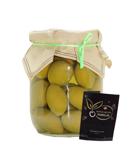 Olive Bella Cerignola in salamoia - pezzatura grande GGG - vaso 580ml - Agricola Fusillo