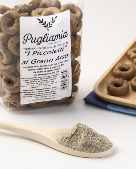 Taralli al Grano Arso artigianali, I Piccoletti - busta 300g - Forno Pugliamia