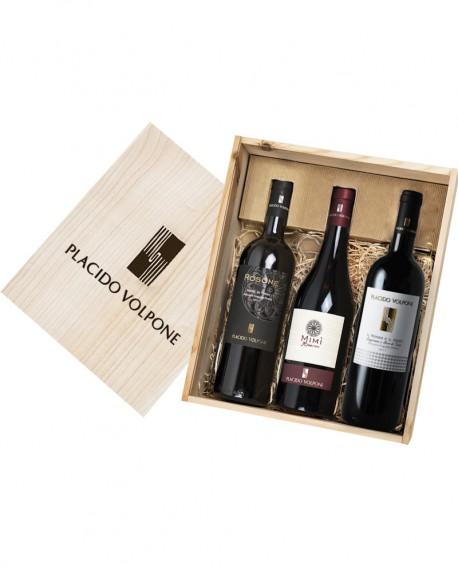 Box regalo in legno Nero di Troia da tre bottiglie - Cantina Vini Placido Volpone