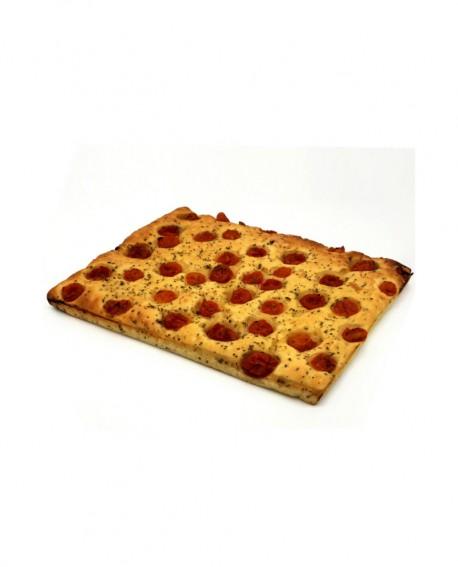 Focaccia ai Pomodorini surgelata di semola rimacinata di grano duro - 30x40cm 850g - cartone sfuso n.12 pezzi - Mininni Buene