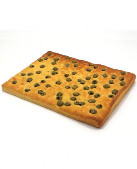 Focaccia alle Olive surgelata di semola rimacinata di grano duro - 40x60cm 1400g - cartone sfuso n.6 pezzi - Mininni Buene