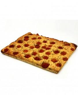 Focaccia ai Pomodorini surgelata di semola rimacinata di grano duro - 40x60cm 1700g - cartone sfuso n.6 pezzi - Mininni Buene