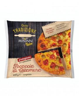 Focaccia Mediterranea surgelata di semola rimacinata di grano duro-Flow pack 25cm tonda 450g-cartone sfuso n.8 pezzi - Mininni