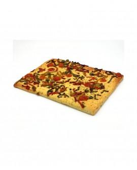 Focaccia con Peperoni e Olive surgelata di semola rimacinata di grano duro - 30x40cm 800g - cartone sfuso n.12 pezzi - Mininni