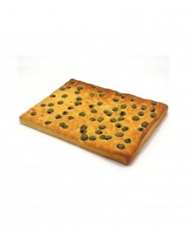 Focaccia alle Olive surgelata di semola rimacinata di grano duro - 30x40cm 700g - cartone sfuso n.12 pezzi - Mininni Buene