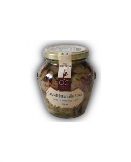 Carciofi interi alla Brace in olio di semi di girasole - vaso in vetro 314 ml - gli sprizzini - Orto Goloso