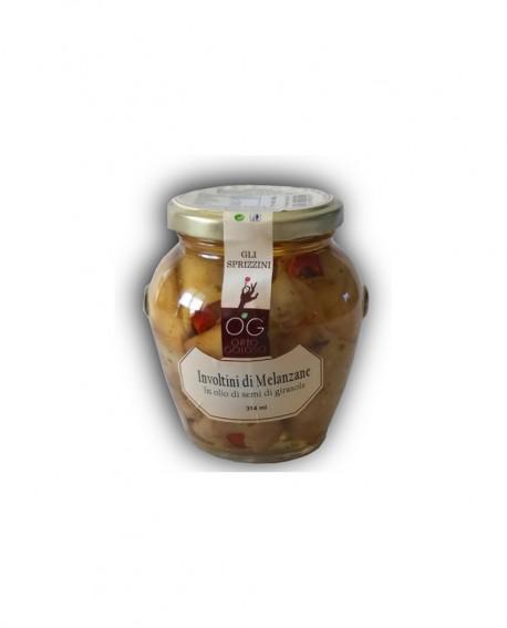 Involtini di Melanzane in olio di semi di girasole - vaso in vetro 314 ml - gli sprizzini - Orto Goloso