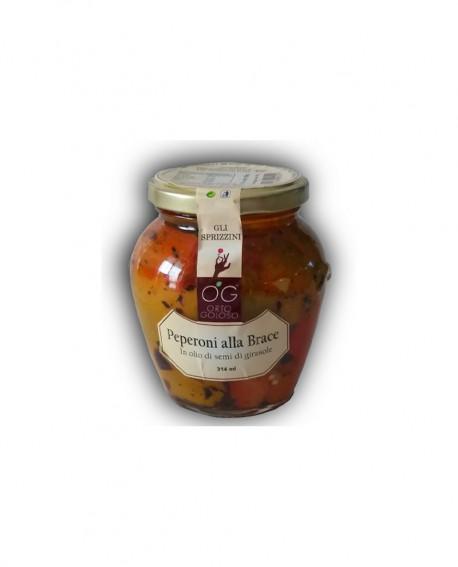 Peperoni alla Brace in olio di semi di girasole - vaso in vetro 314 ml - gli sprizzini - Orto Goloso