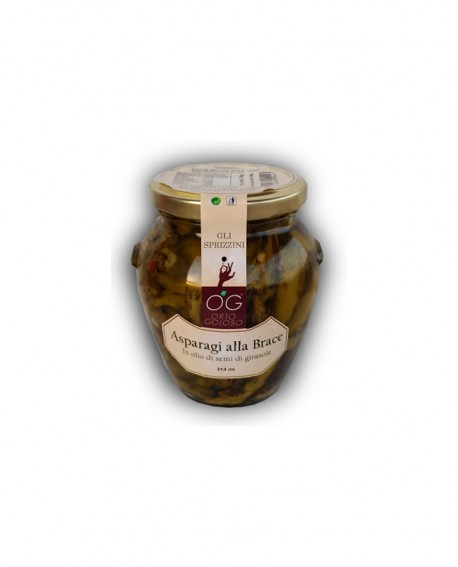Asparagi alla Brace in olio di semi di girasole - vaso in vetro 314 ml - gli sprizzini - Orto Goloso