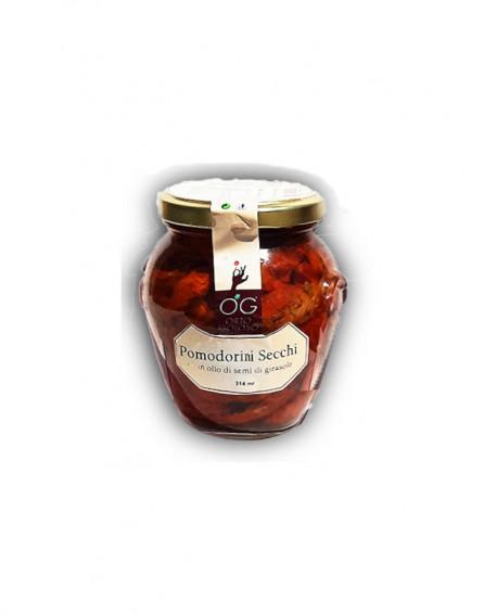 Pomodorini Secchi in olio di semi di girasole - vaso in vetro 314 ml - gli sprizzini - Orto Goloso